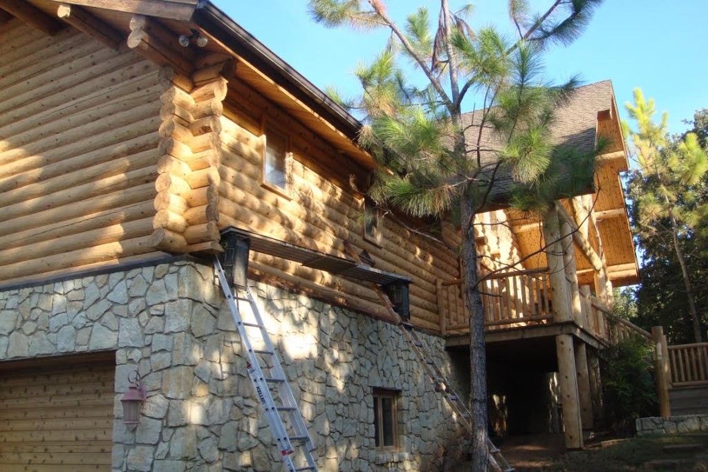 Log home care staining